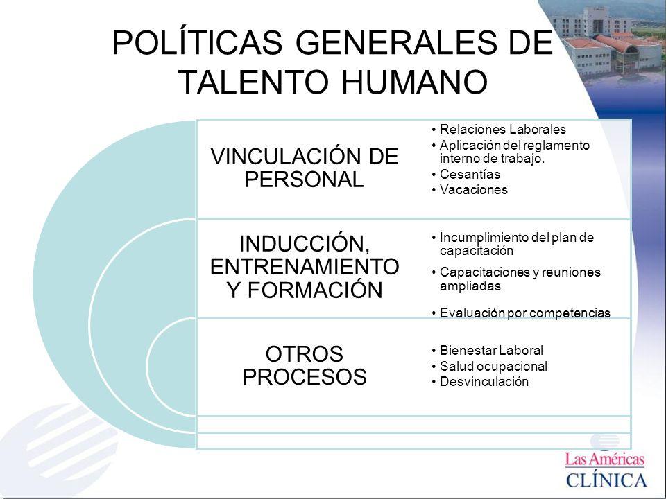 POLÍTICAS GENERALES DE TALENTO HUMANO