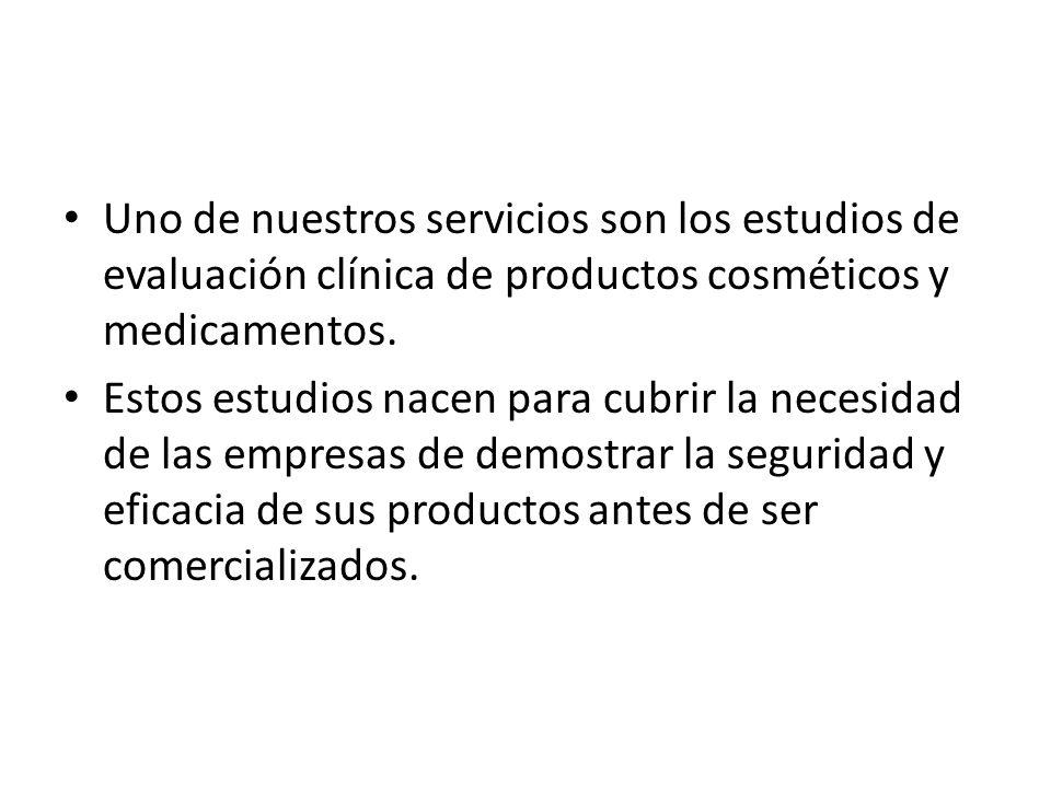 Uno de nuestros servicios son los estudios de evaluación clínica de productos cosméticos y medicamentos.