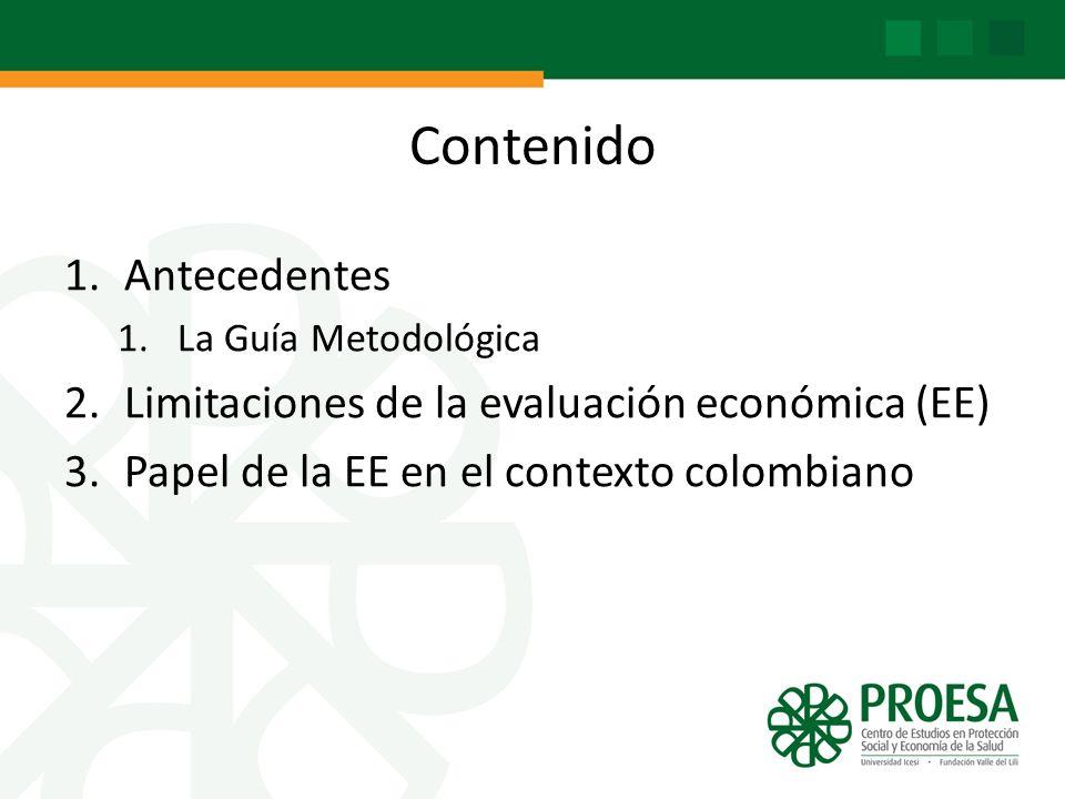 Contenido Antecedentes Limitaciones de la evaluación económica (EE)