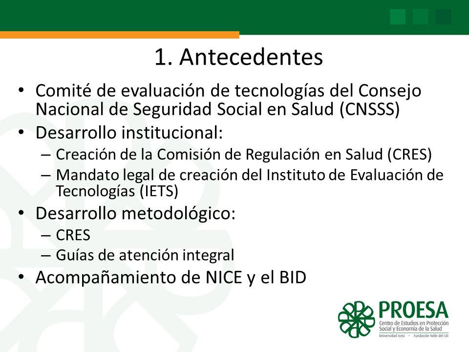 1. Antecedentes Comité de evaluación de tecnologías del Consejo Nacional de Seguridad Social en Salud (CNSSS)