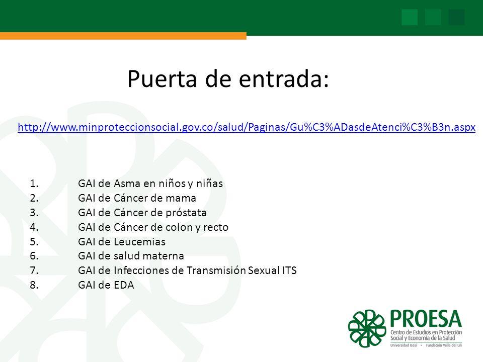 Puerta de entrada: http://www.minproteccionsocial.gov.co/salud/Paginas/Gu%C3%ADasdeAtenci%C3%B3n.aspx.
