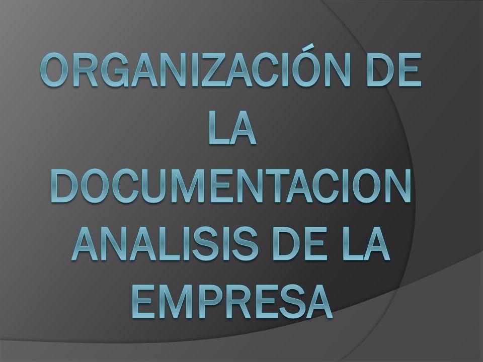 ORGANIZACIÓN DE LA DOCUMENTACION ANALISIS DE LA EMPRESA