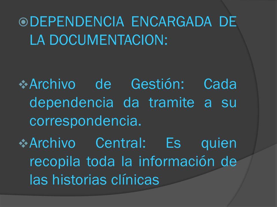 DEPENDENCIA ENCARGADA DE LA DOCUMENTACION: