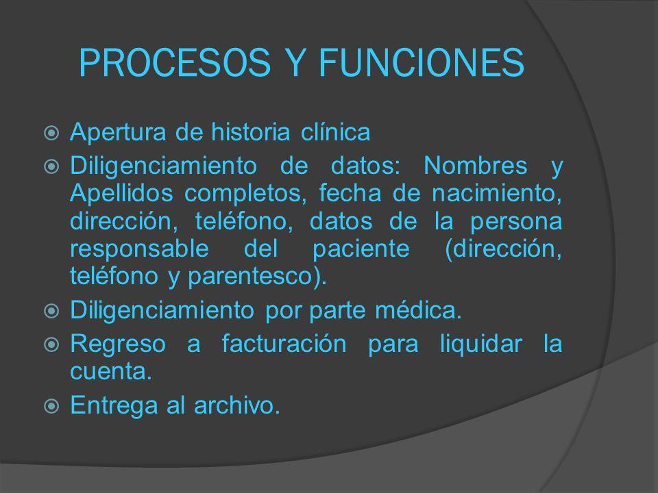 PROCESOS Y FUNCIONES Apertura de historia clínica