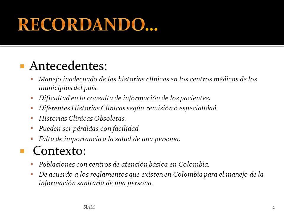 RECORDANDO… Antecedentes: Contexto: