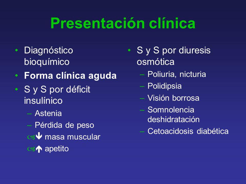 Presentación clínica Diagnóstico bioquímico Forma clínica aguda
