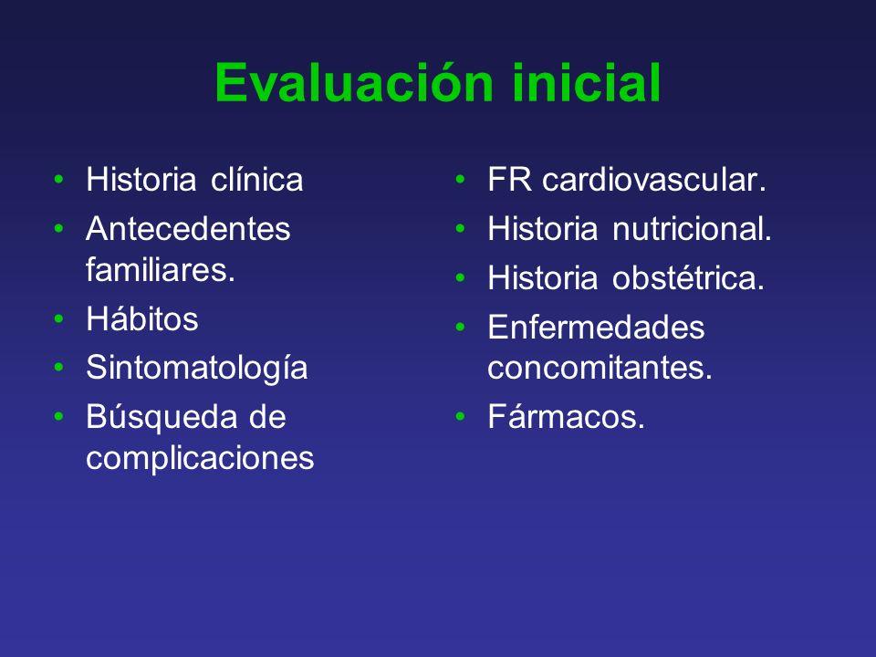 Evaluación inicial Historia clínica Antecedentes familiares. Hábitos
