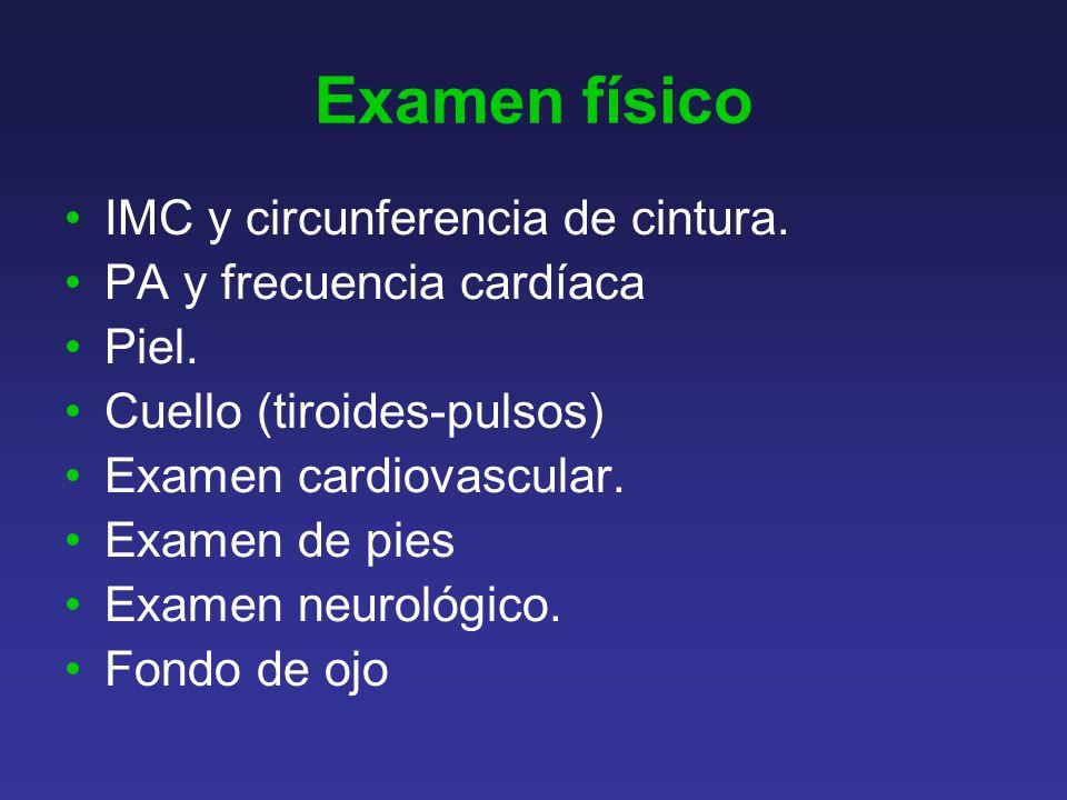 Examen físico IMC y circunferencia de cintura.