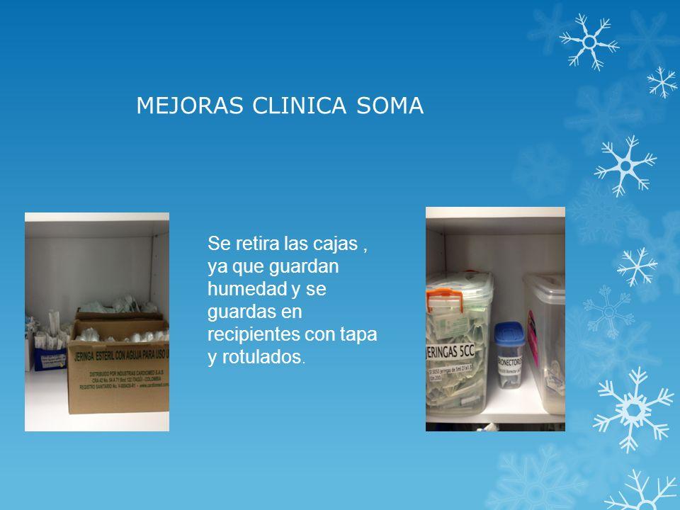 MEJORAS CLINICA SOMA Se retira las cajas , ya que guardan humedad y se guardas en recipientes con tapa y rotulados.