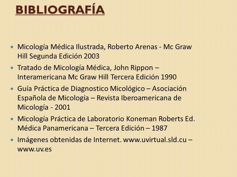 BIBLIOGRAFÍA Micología Médica Ilustrada, Roberto Arenas - Mc Graw Hill Segunda Edición 2003.
