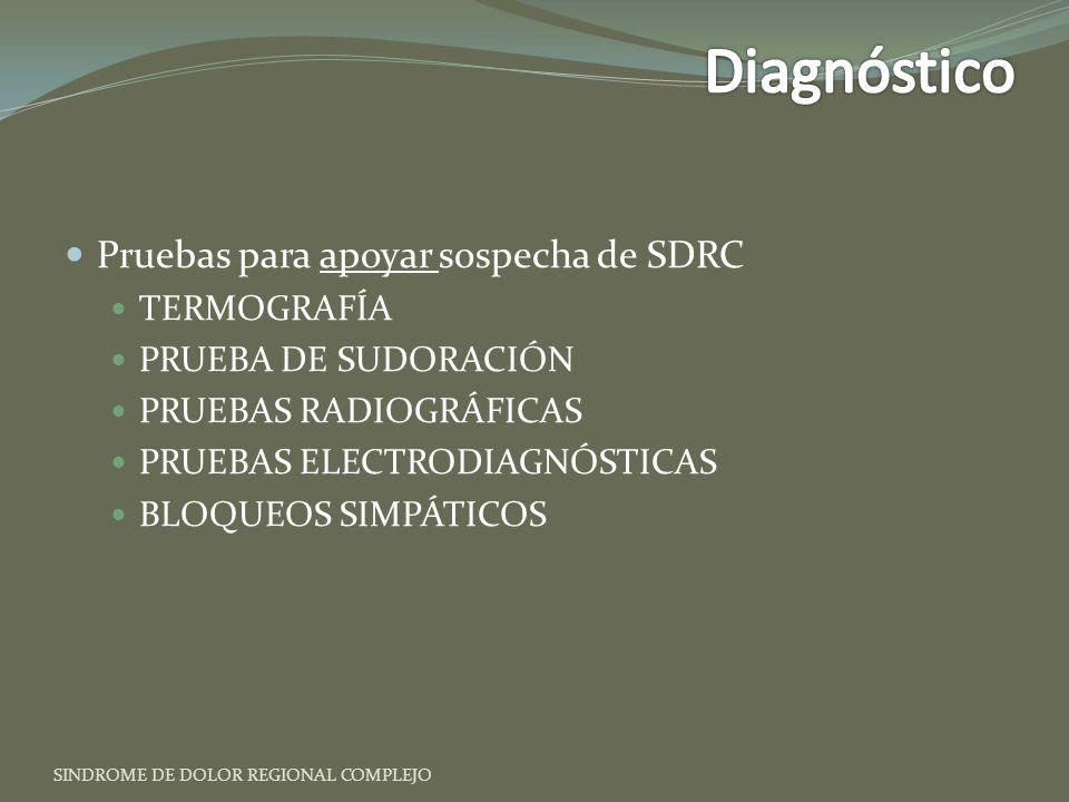 Diagnóstico Pruebas para apoyar sospecha de SDRC TERMOGRAFÍA