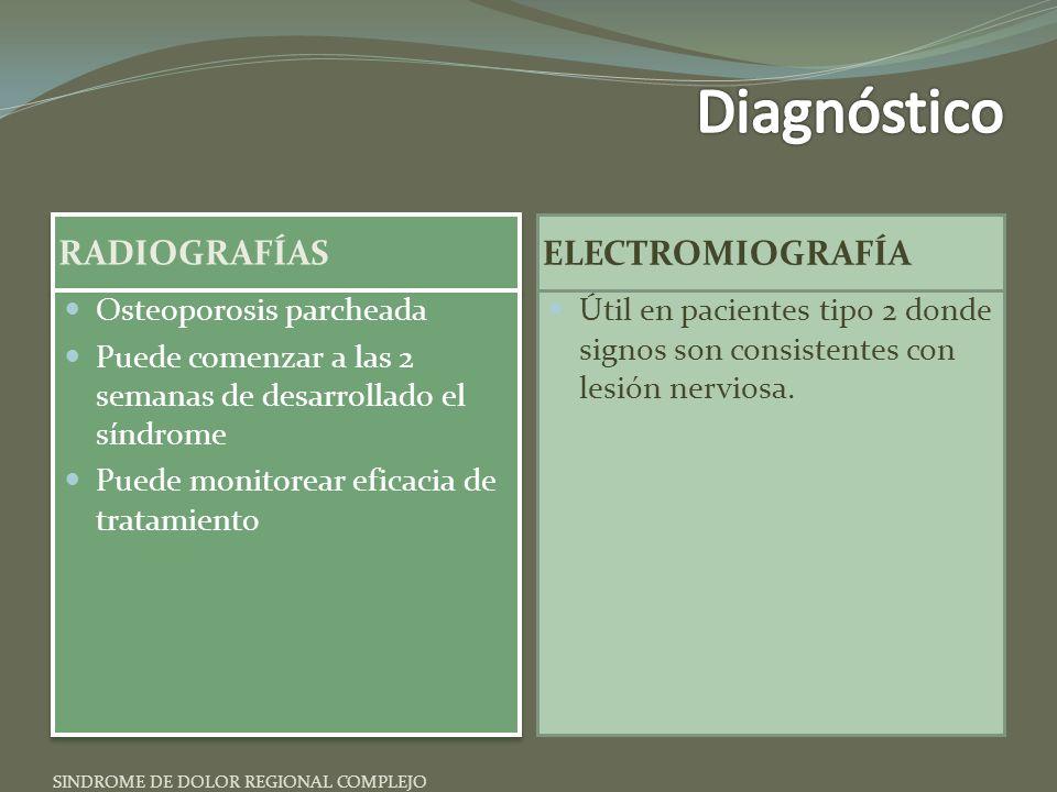 Diagnóstico RADIOGRAFÍAS ELECTROMIOGRAFÍA Osteoporosis parcheada
