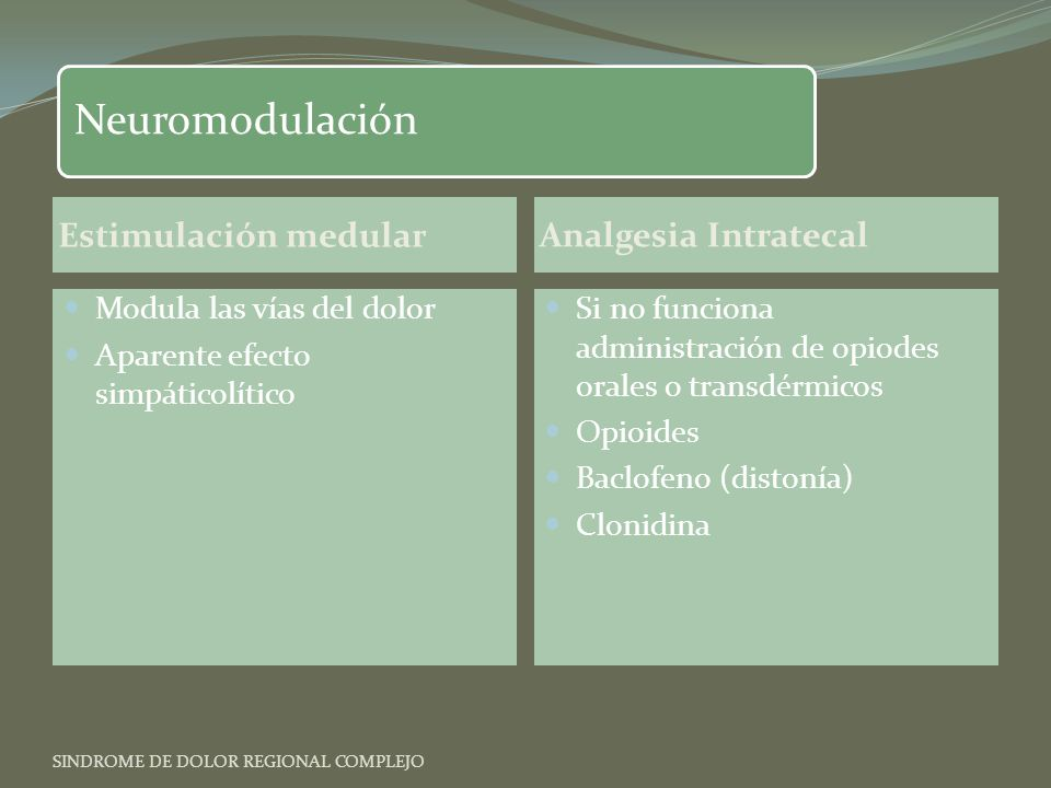 Neuromodulación Estimulación medular Analgesia Intratecal