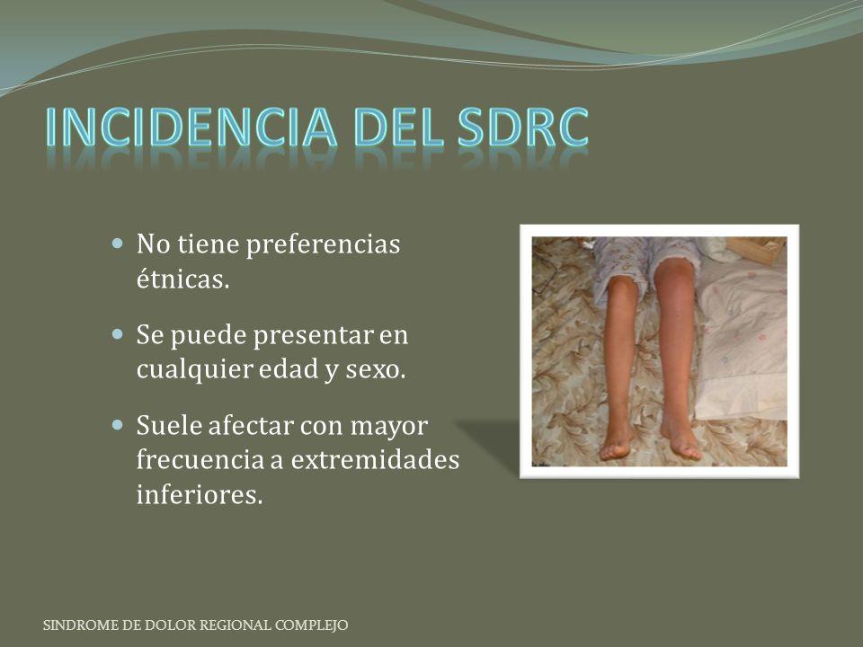 Incidencia del SDRC No tiene preferencias étnicas.