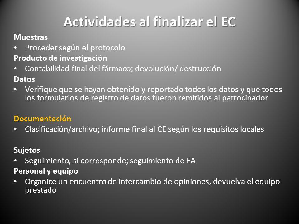 Actividades al finalizar el EC