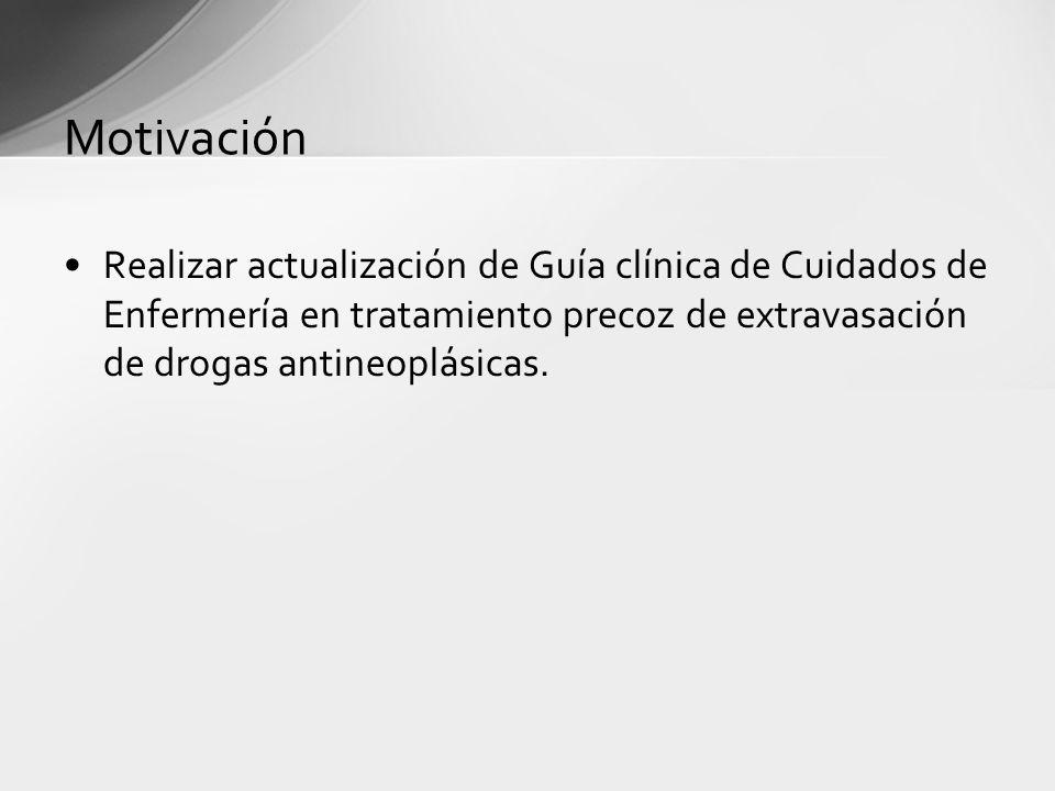 Motivación Realizar actualización de Guía clínica de Cuidados de Enfermería en tratamiento precoz de extravasación de drogas antineoplásicas.