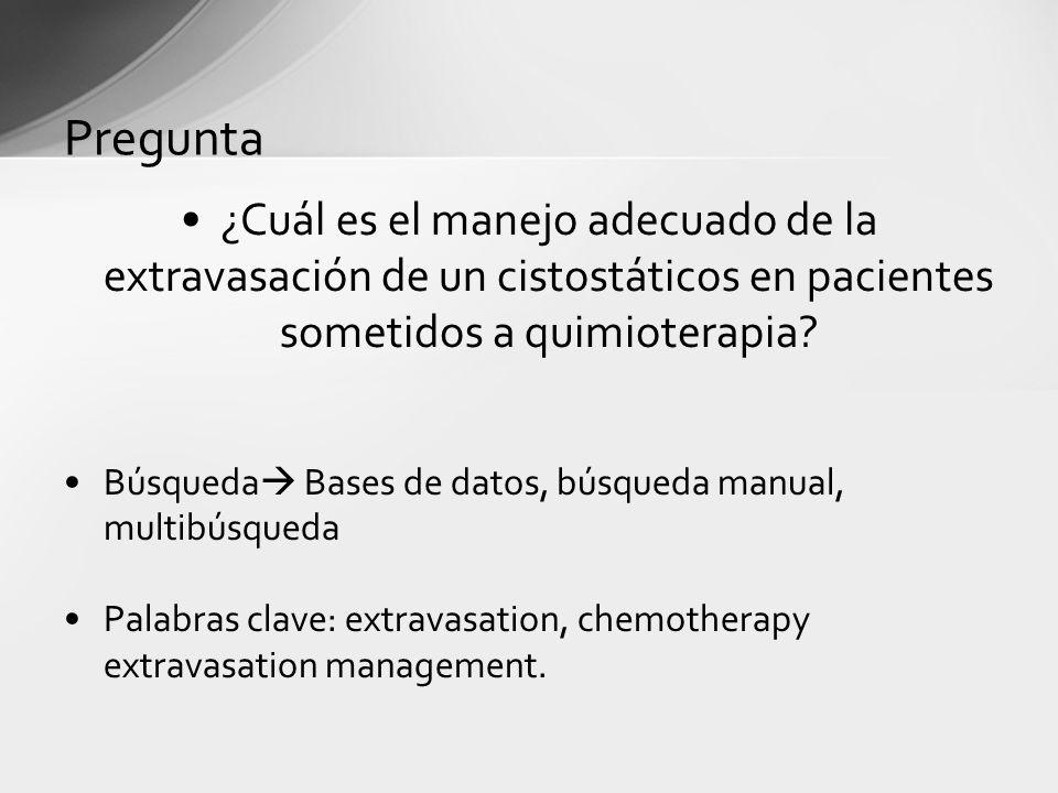 Pregunta ¿Cuál es el manejo adecuado de la extravasación de un cistostáticos en pacientes sometidos a quimioterapia