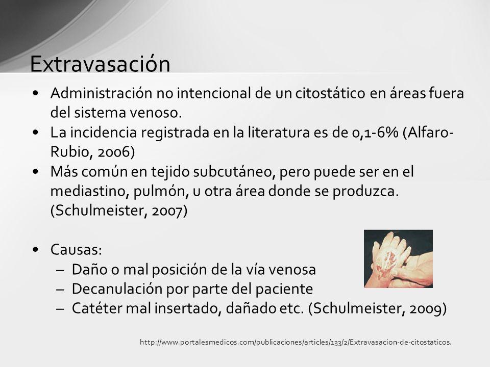 Extravasación Administración no intencional de un citostático en áreas fuera del sistema venoso.