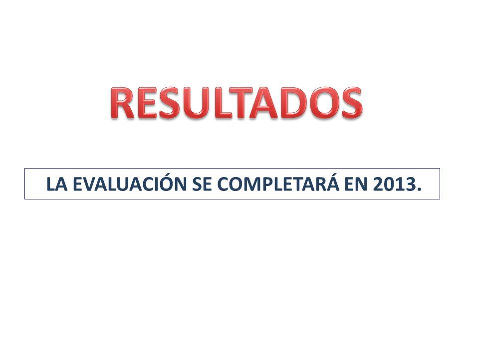 RESULTADOS LA EVALUACIÓN SE COMPLETARÁ EN 2013.