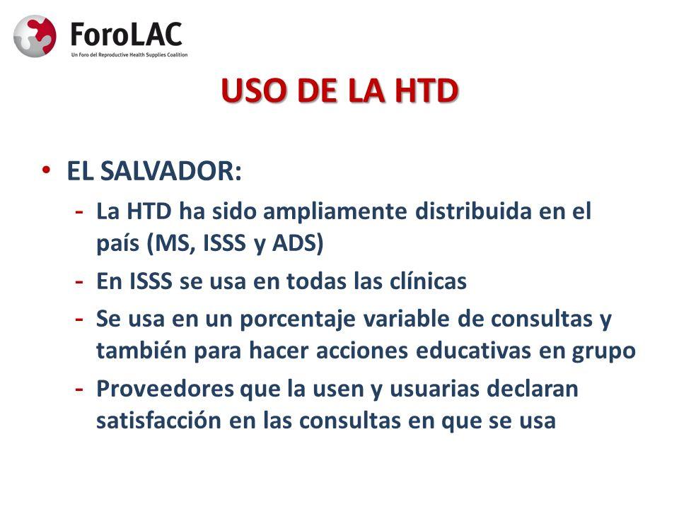 USO DE LA HTD EL SALVADOR: