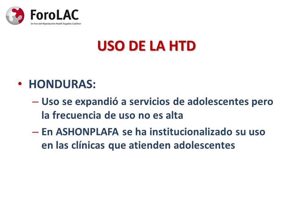 USO DE LA HTD HONDURAS: Uso se expandió a servicios de adolescentes pero la frecuencia de uso no es alta.