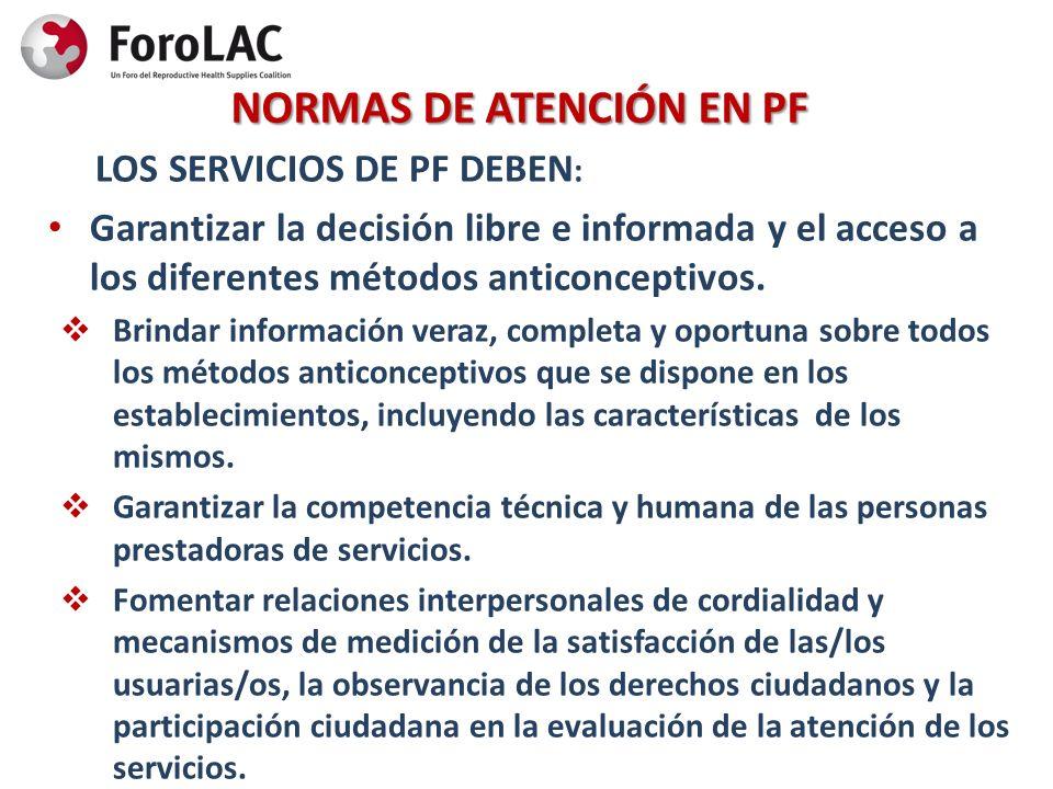 NORMAS DE ATENCIÓN EN PF