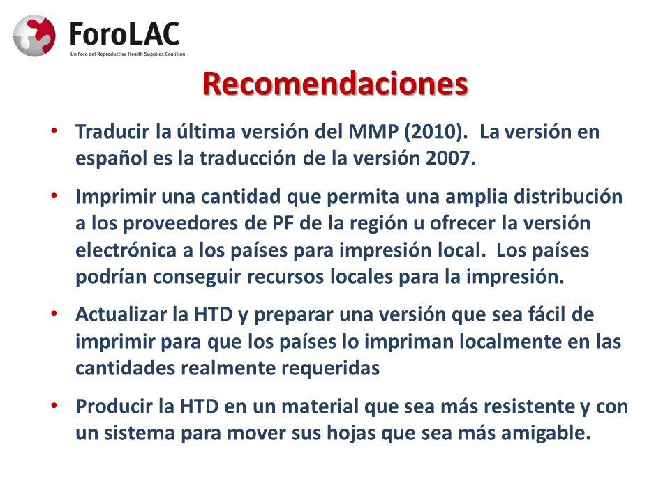 RecomendacionesTraducir la última versión del MMP (2010). La versión en español es la traducción de la versión 2007.