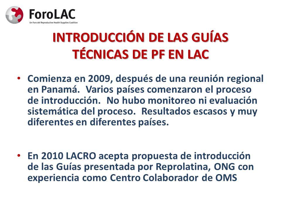 INTRODUCCIÓN DE LAS GUÍAS TÉCNICAS DE PF EN LAC