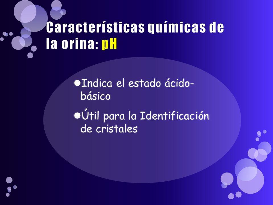 Características químicas de la orina: pH