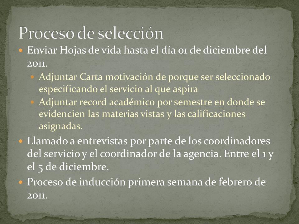 Proceso de selección Enviar Hojas de vida hasta el día 01 de diciembre del 2011.
