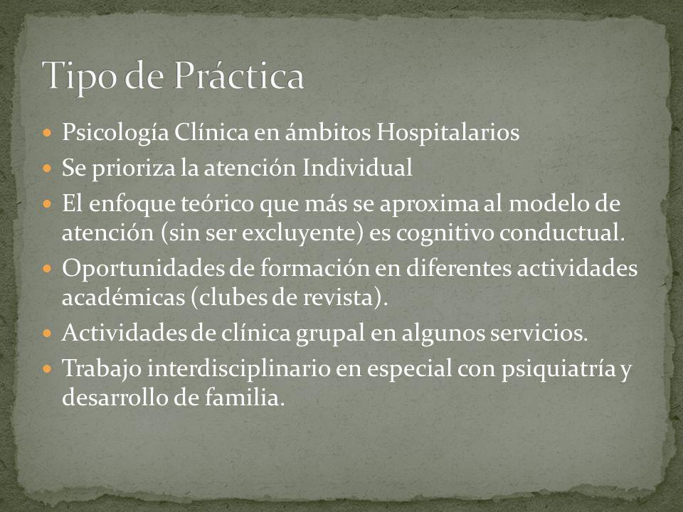 Tipo de Práctica Psicología Clínica en ámbitos Hospitalarios