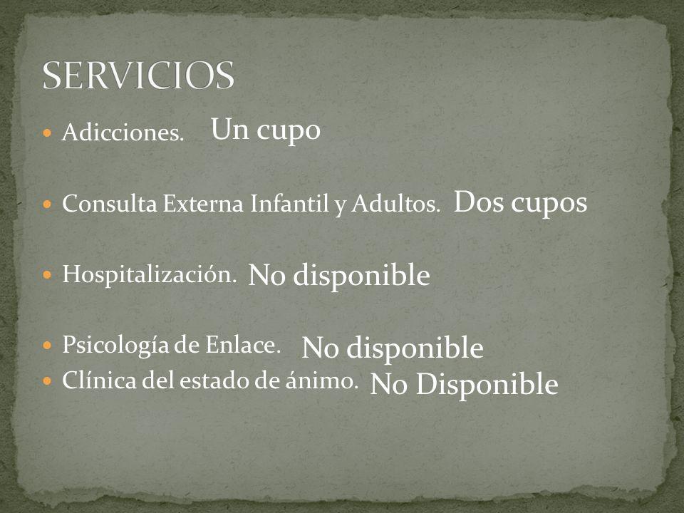 SERVICIOS Un cupo Dos cupos No disponible No Disponible Adicciones.