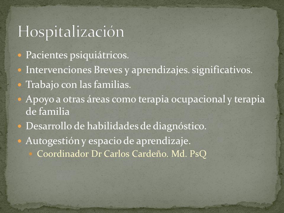 Hospitalización Pacientes psiquiátricos.