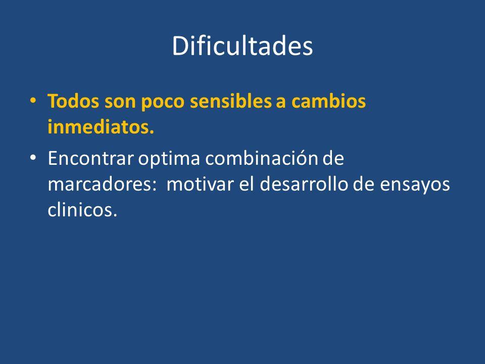 Dificultades Todos son poco sensibles a cambios inmediatos.