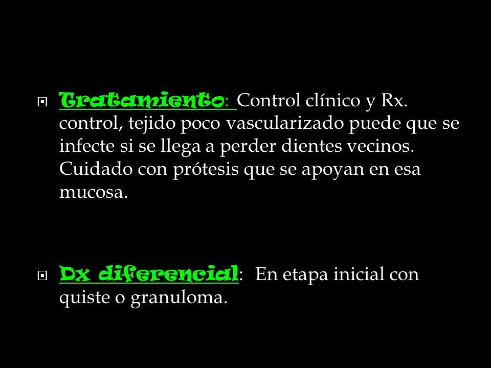 Tratamiento: Control clínico y Rx