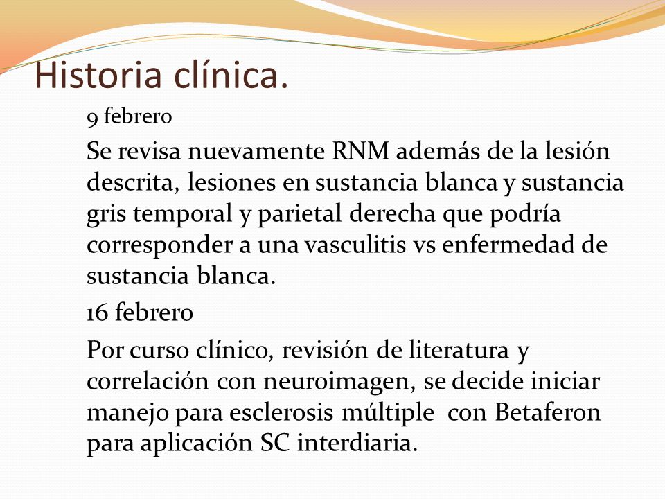 Historia clínica. 9 febrero.