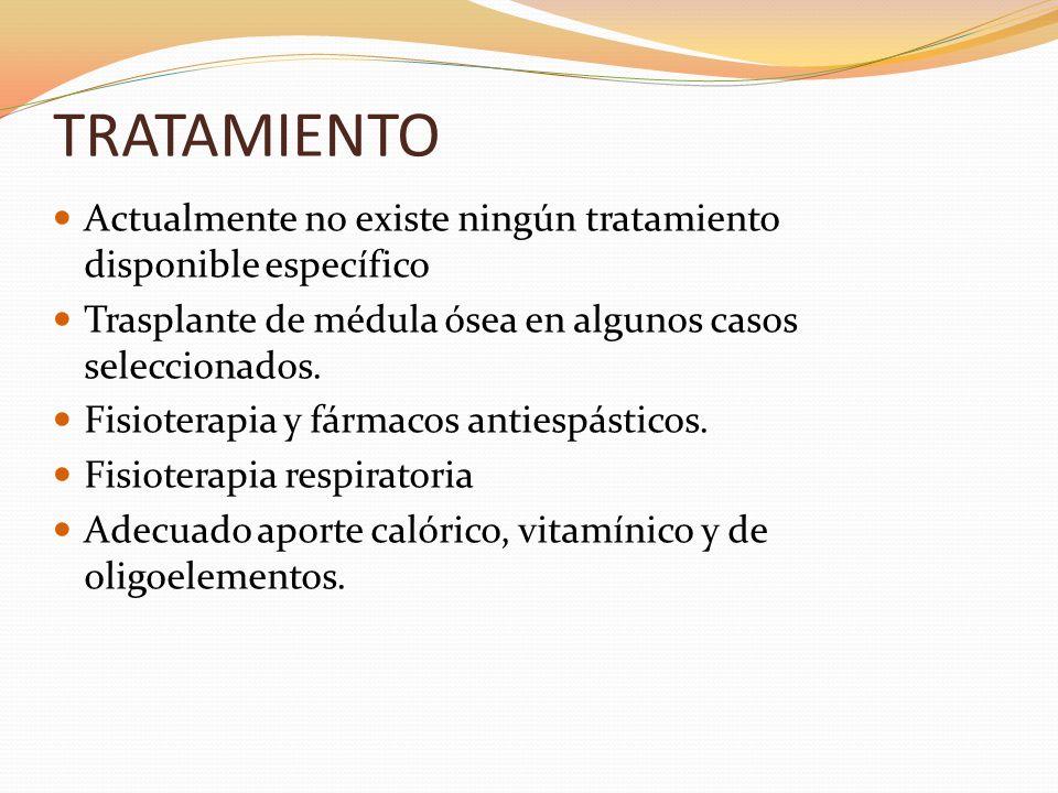 TRATAMIENTO Actualmente no existe ningún tratamiento disponible específico. Trasplante de médula ósea en algunos casos seleccionados.