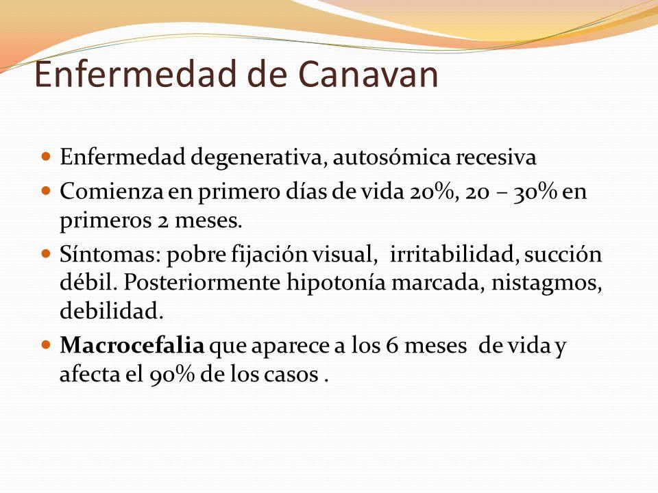Enfermedad de Canavan Enfermedad degenerativa, autosómica recesiva