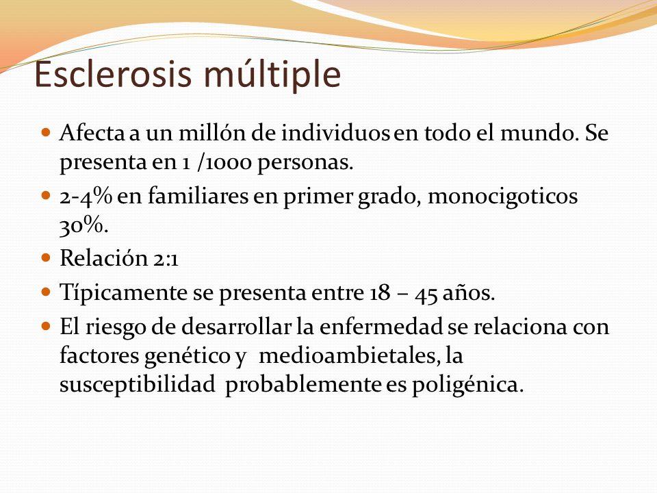 Esclerosis múltiple Afecta a un millón de individuos en todo el mundo. Se presenta en 1 /1000 personas.