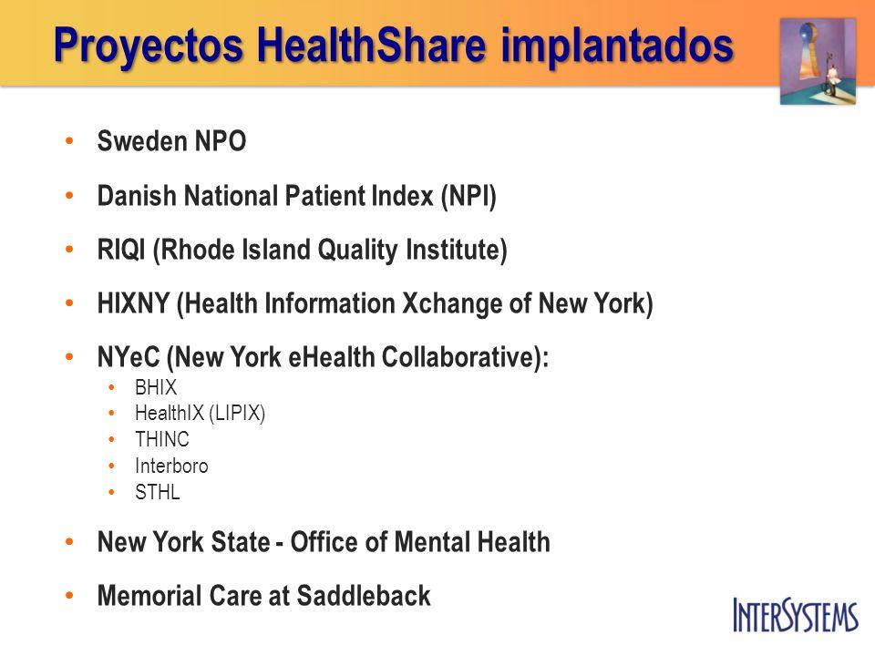 Proyectos HealthShare implantados