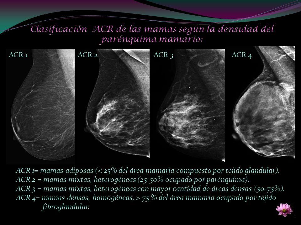 Clasificación ACR de las mamas según la densidad del parénquima mamario: