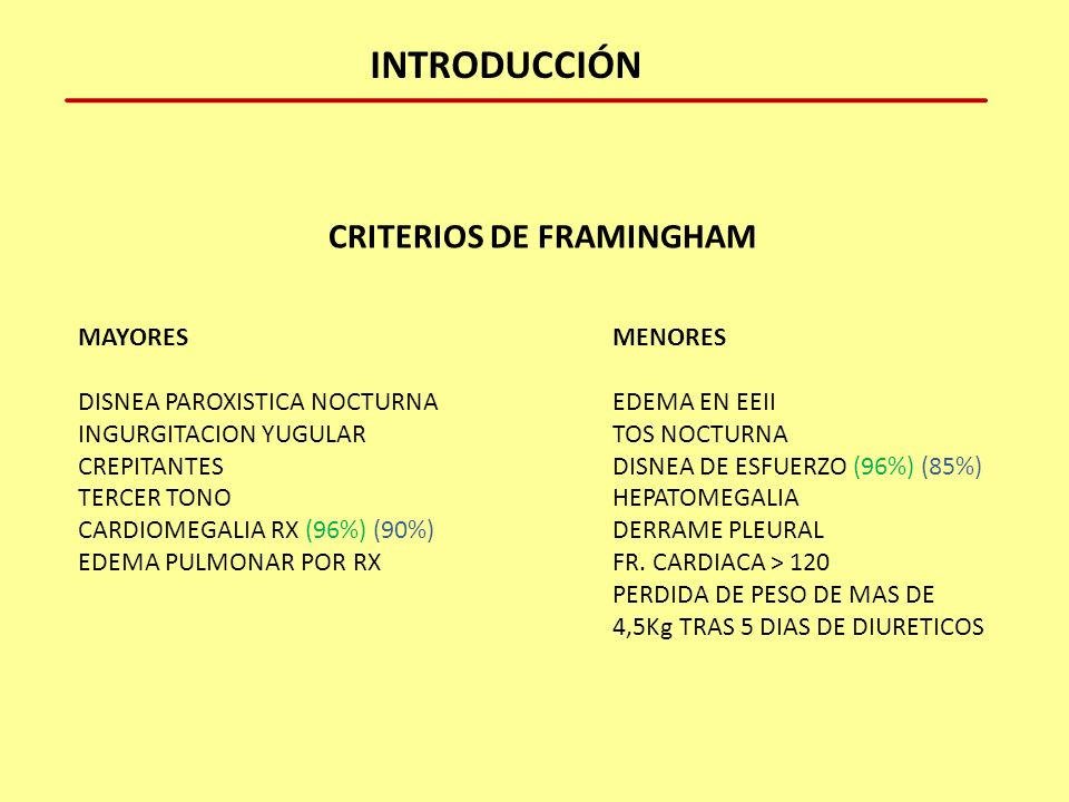 CRITERIOS DE FRAMINGHAM