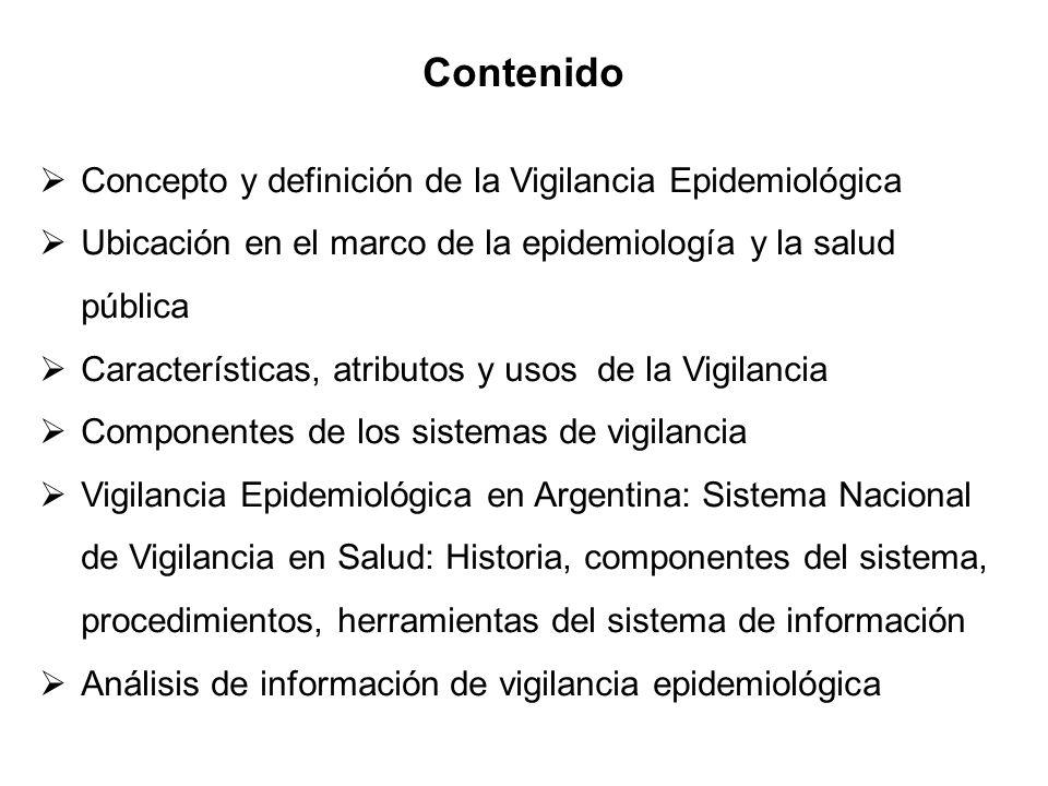 Contenido Concepto y definición de la Vigilancia Epidemiológica