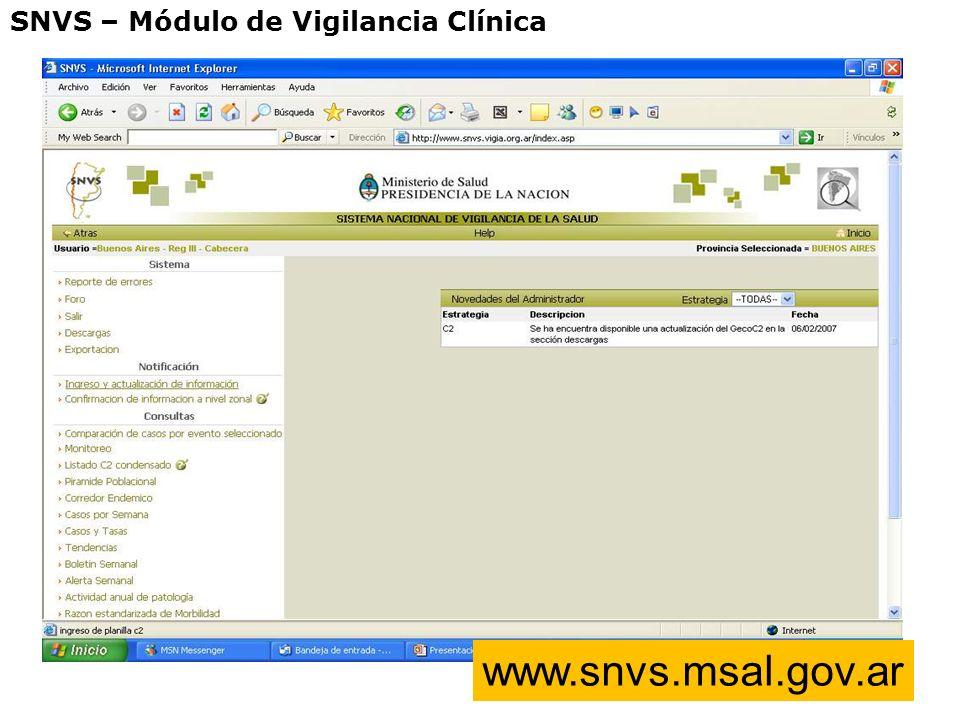 SNVS – Módulo de Vigilancia Clínica