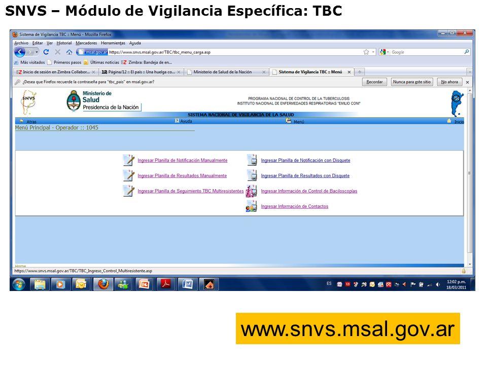 SNVS – Módulo de Vigilancia Específica: TBC