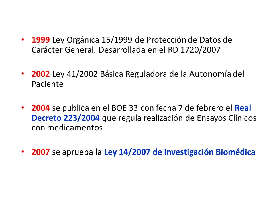 1999 Ley Orgánica 15/1999 de Protección de Datos de Carácter General