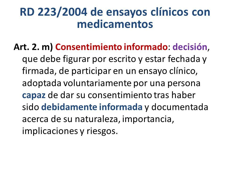 RD 223/2004 de ensayos clínicos con medicamentos