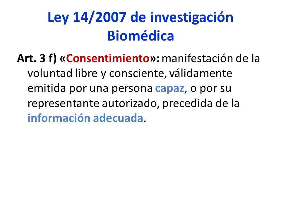 Ley 14/2007 de investigación Biomédica