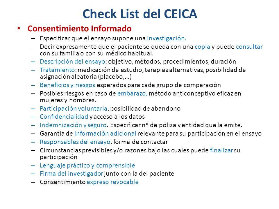 Check List del CEICA Consentimiento Informado