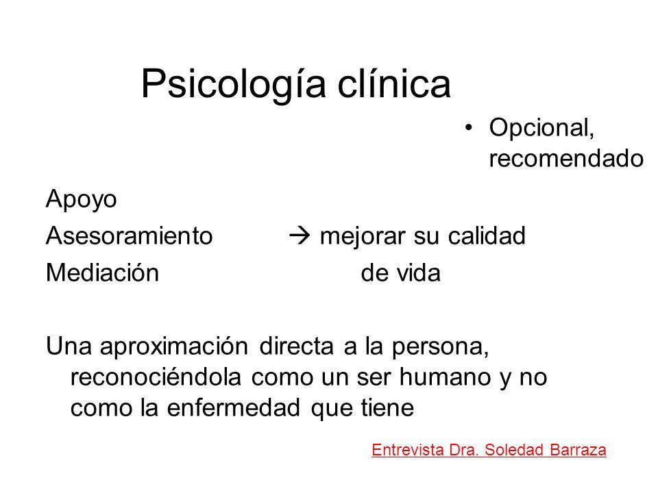 Psicología clínica Opcional, recomendado Apoyo